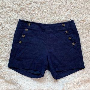 Navy sailor button up high waisted linen shorts